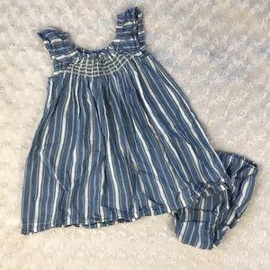 Baby Gap Casual Dress Size 12-18 Month Blue Stripe